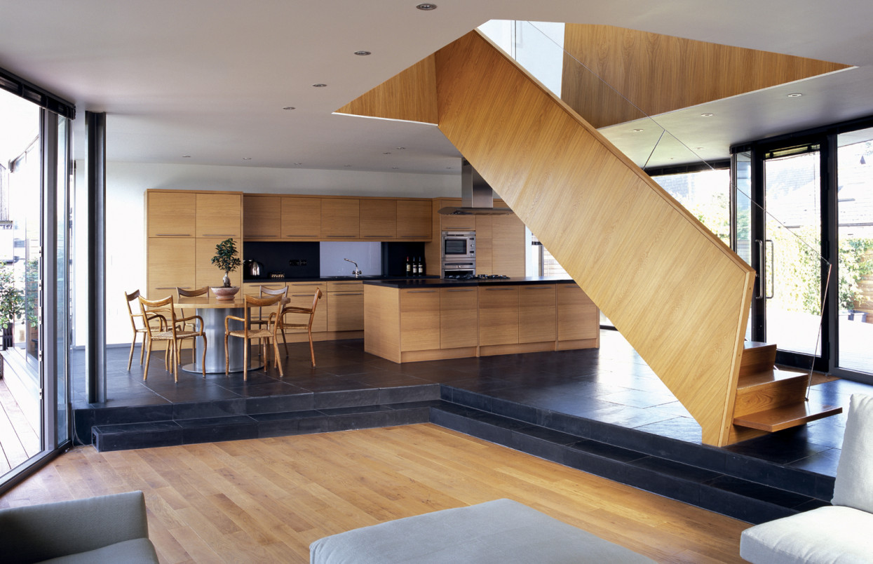 open plan staircase in living room eclectic decorating ideas for rooms salt house | alison brooks architects