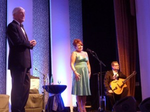 Michael Parkinson, Alison Burns and Martin Taylor on stage