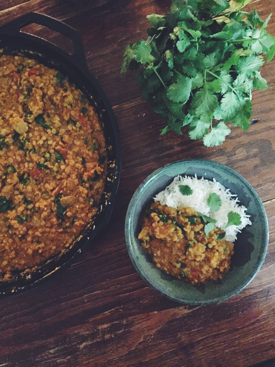 Curried Red Lentils (Daal) and Rice