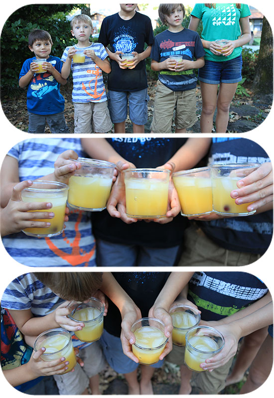 kids with orange juice, kids with fun drinks