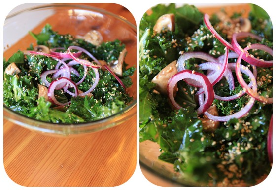 kale, yummy ways to fix kale, sesame kale salad, marinade for kale