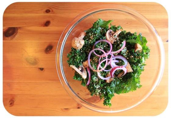 kale, yummy ways to fix kale, sesame kale salad, marinade for kale