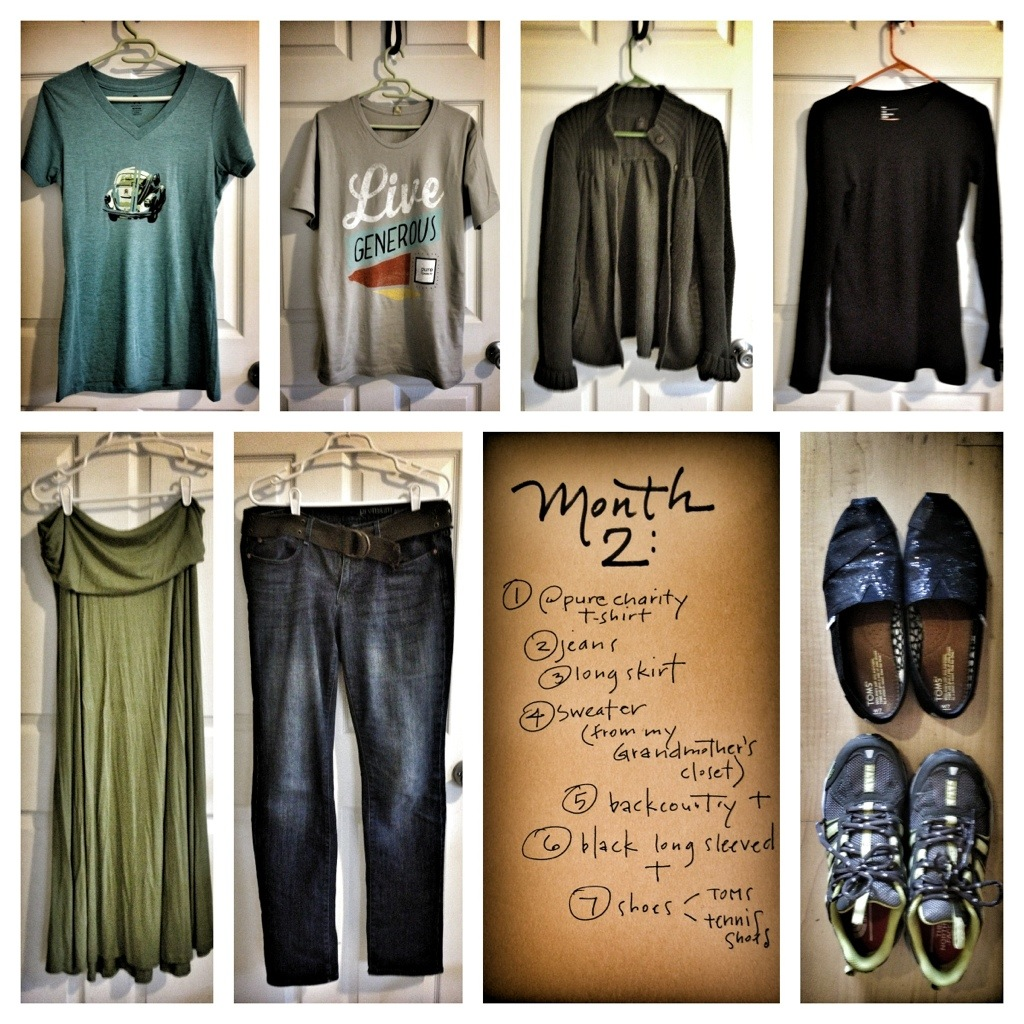 seven month 2, pure charity t, seven articles of clothing, experimental mutiny against excess