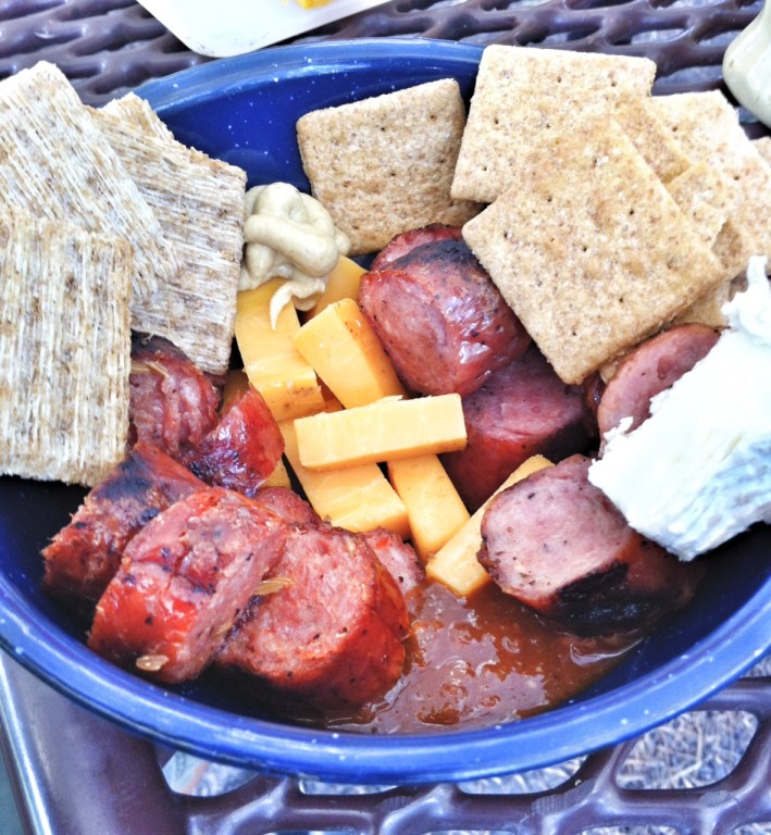 camping menus, sausage and cheese, blue tin bowl, camp food, camping with kids