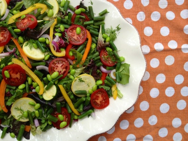 Colorful Summer Salad with Peppers and Edamame, #Bean2Blog, #Soy, Healthy, Salad Recipes