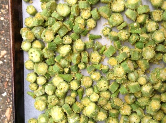 Summer Harvest, Okra Recipe, Oven Roasted Cornmeal Encrusted Okra