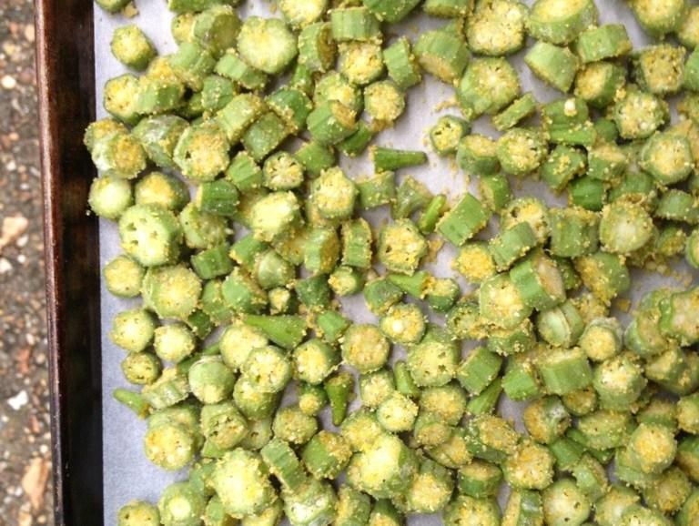 Summer Harvest, Okra Recipe, Oven Roasted Cornmeal Encrusted Okra