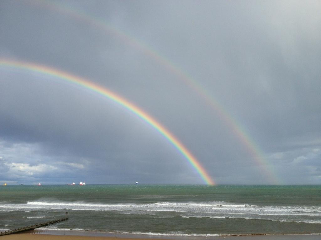 The North Sea Walk, Double Rainbow, Scotland, Rainbow and Ocean