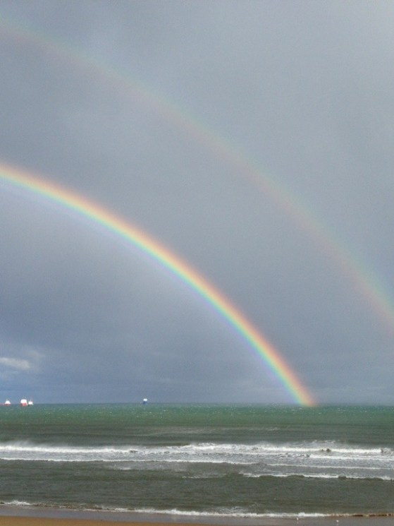 The North Sea Walk, Double Rainbow, Scotland, Rainbow and Ocean