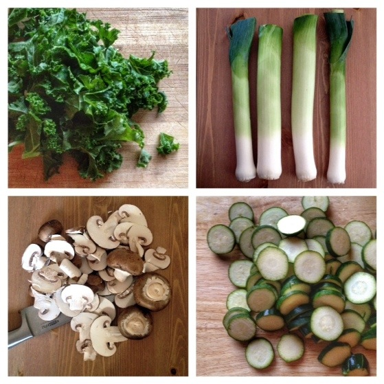 Kale, Leeks, Mushrooms, Zucchini, Courgettes, French Peasant Soup