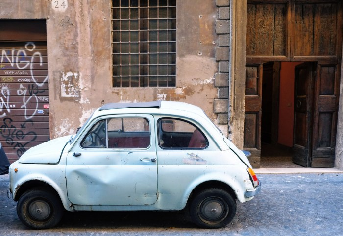 Rome, Italy, Beat up Fiat