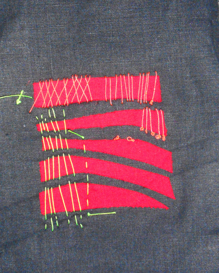 Sample - straight stitch over flat shapes