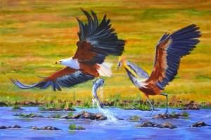 Stolen Catch, Oil on Canvas, 76x50cm