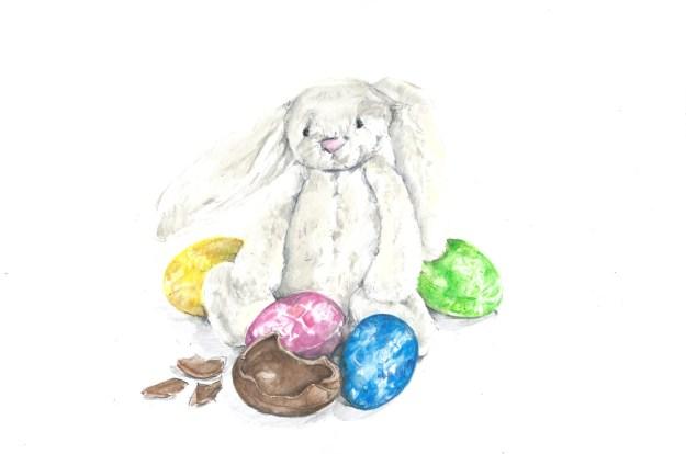 29mar15 bashful bunny and eggs