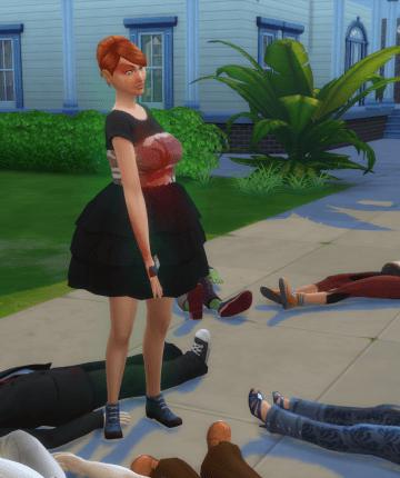 sims woman standing among corpses