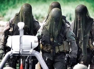 danish frogman corps in netted veils