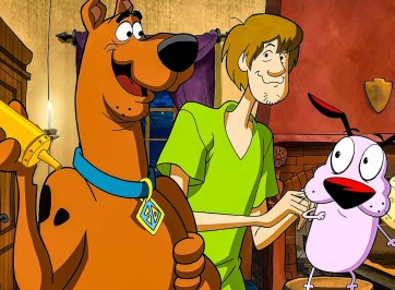 scooby, shaggy, and courage the dog