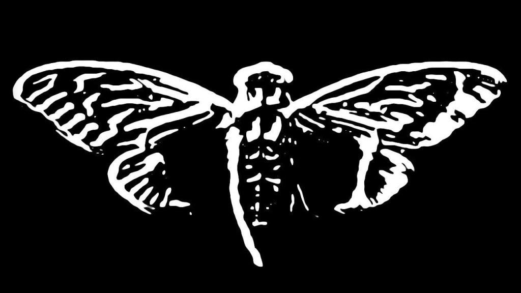 Black and white cicada logo