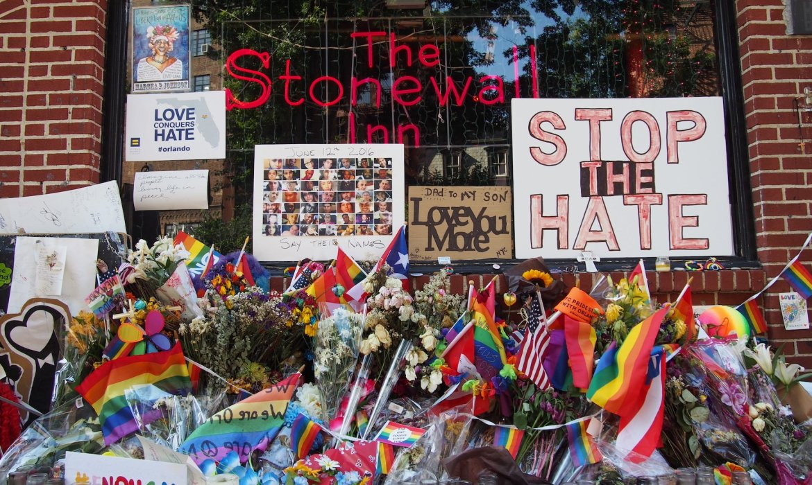 The Stonewall Inn decorated with pride