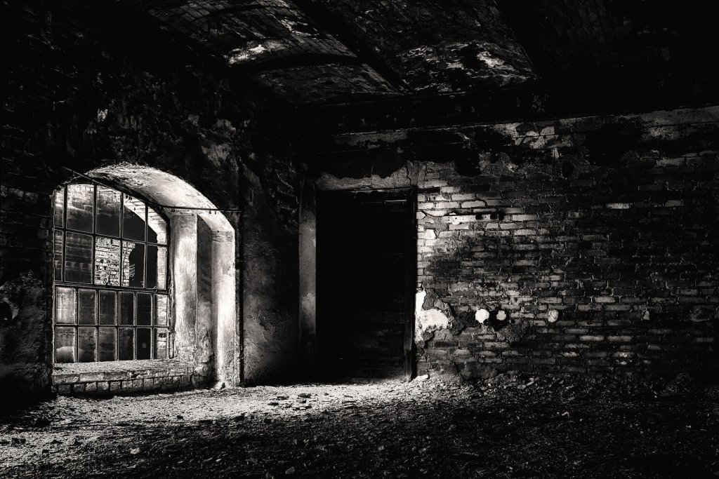 black and white photo of dungeon