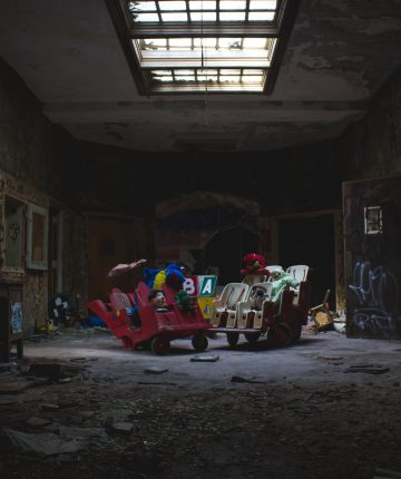 abandoned room with assorted broken things