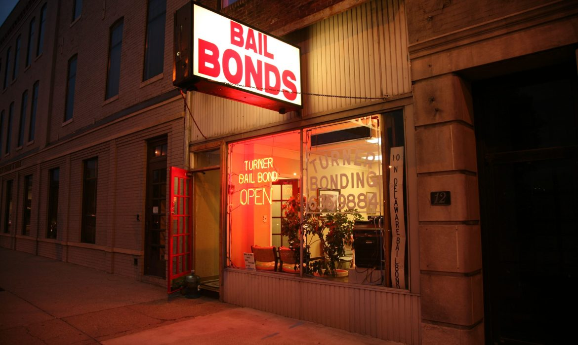 bail bond store front at night