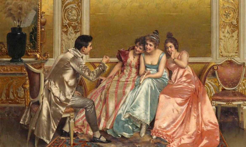3 ladies laughing at man's joke