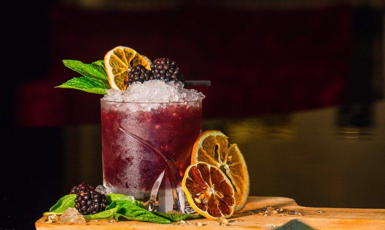blood orange cocktail on platter
