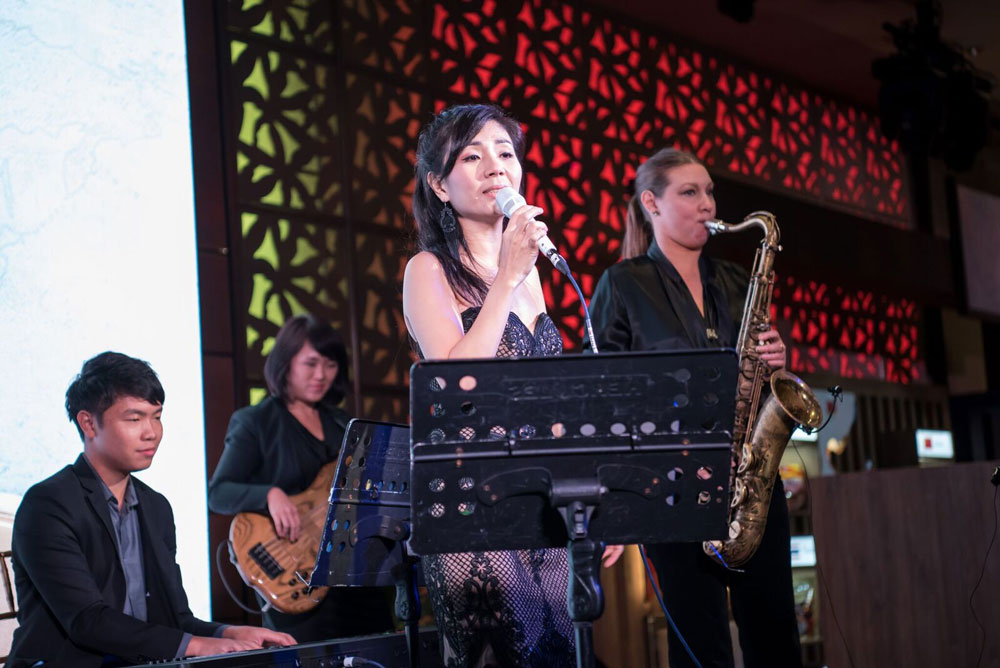 JDE World of coffee Mandarin orchard corporate live band