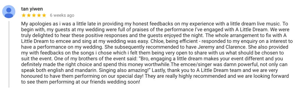 Wedding Live Band Review Testimonial