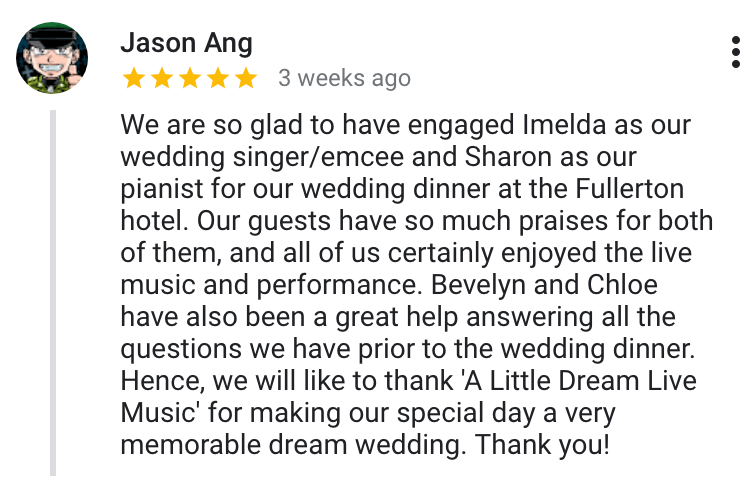 Best Singapore Wedding Live Band Emcee Review