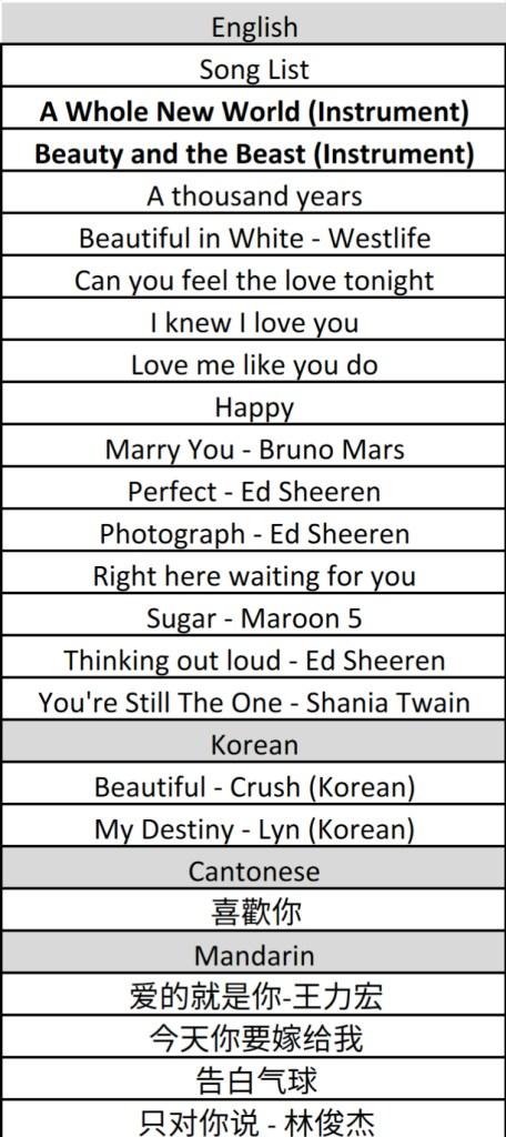 Wedding Song List Singapore