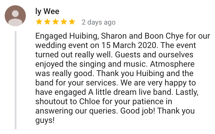 Best singapore wedding live band music singer singing emcee review