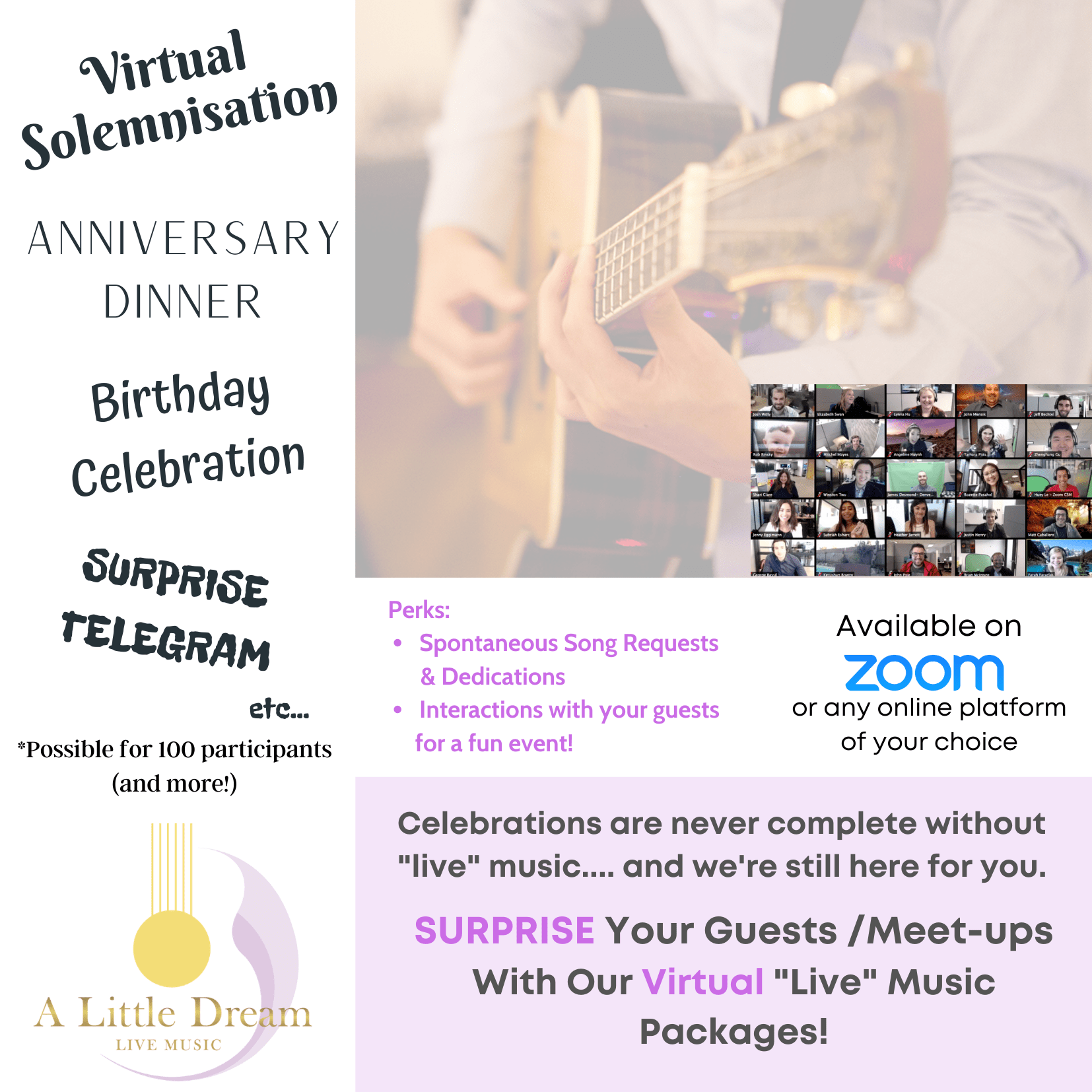 zoom live band music wedding event celebration virtual solemnisation