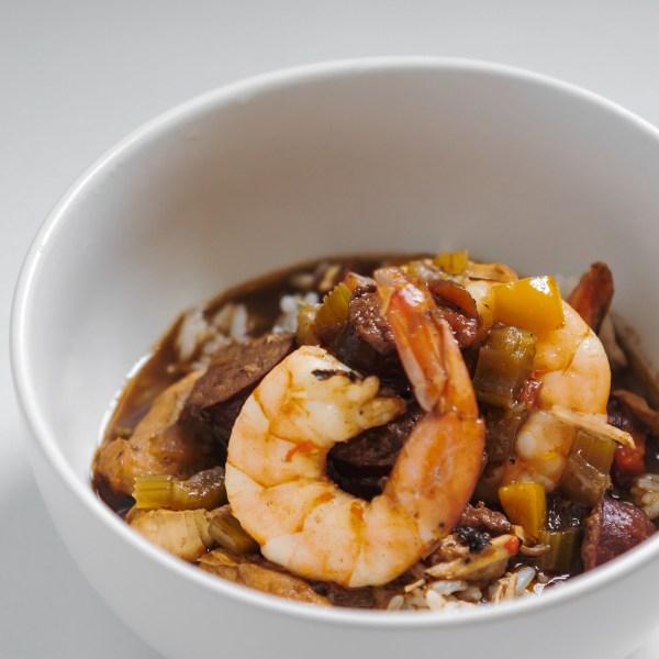 Chicken shrimp & smoked sausage gumbo