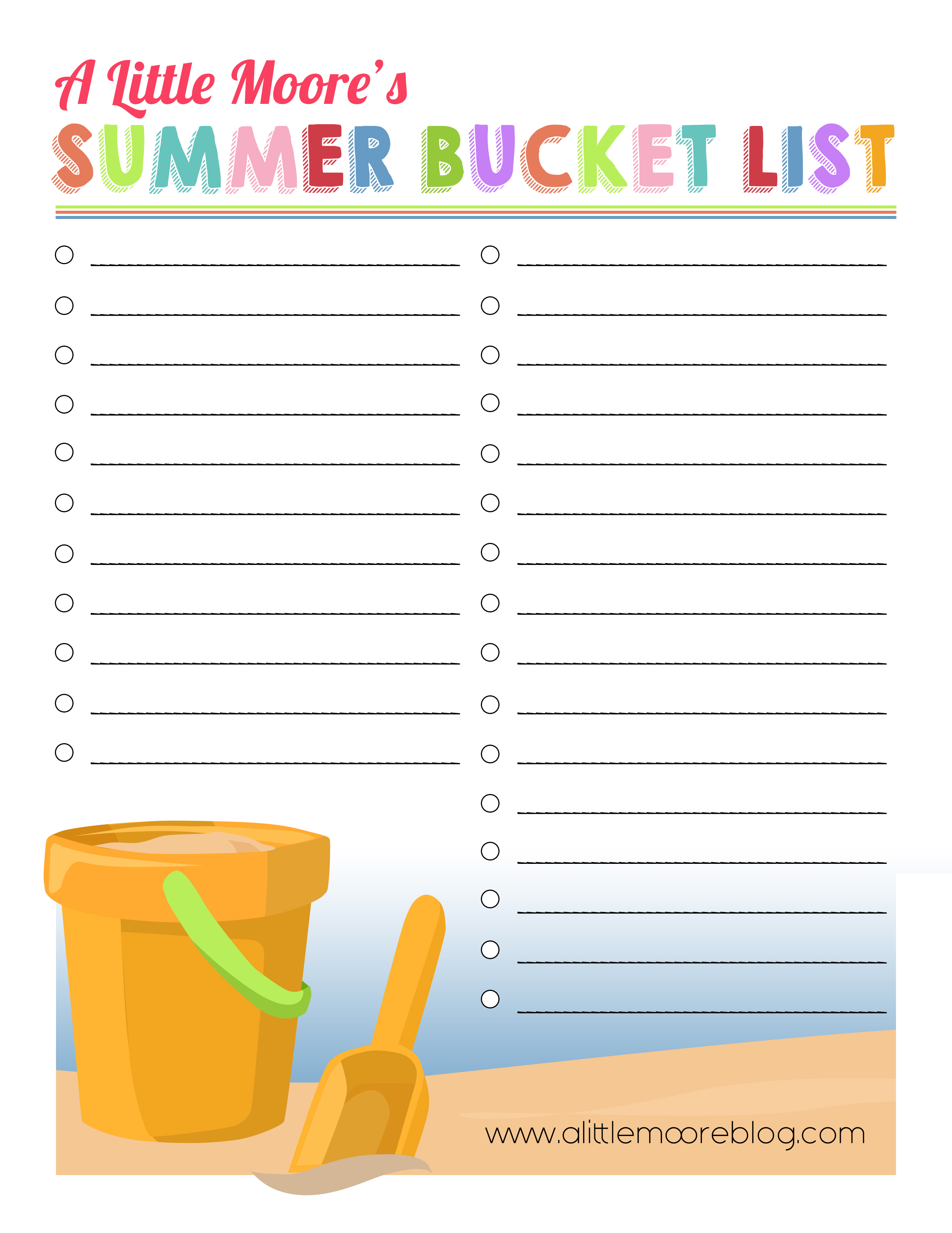 graphic about Summer Bucket List Printable identify Make Your Personal Summer season Bucket Listing Printable - A Minimal Moore