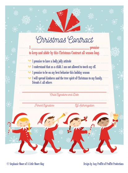 Christmas Contract.Elf On The Shelf Arrival Christmas Contract A Little Moore