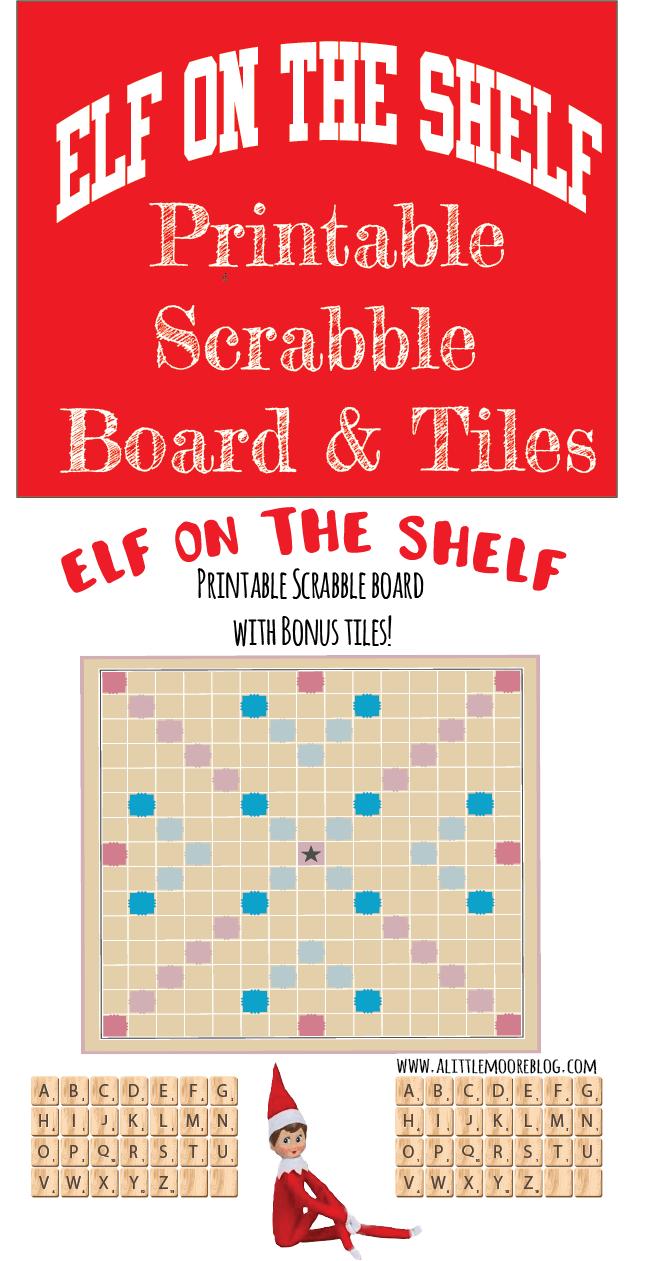 photograph regarding Printable Scrabble Board named Elf upon the Shelf Printable Scrabble Board with Tiles - A