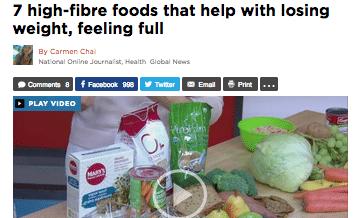 Global TV interview with Winnipeg Dietitian Susan Watson foods for weight loss