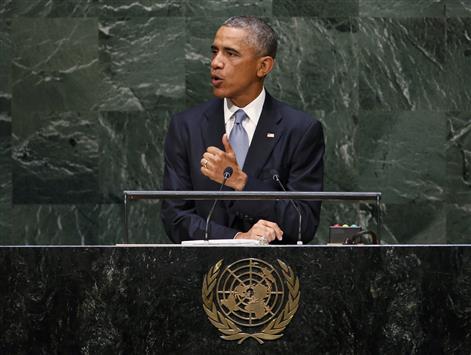 أوباما خلال خطابه أمس في الأمم المتحدة (رويترز)