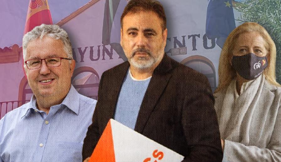 El alcalde Francisco Molina (PSOE), el teniente alcalde Manuel Romero (Cs) y Lola Romero (PP).