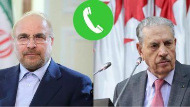 Photo of ڨوجيل يتحادث مع رئيس مجلس الشورى  الإيراني