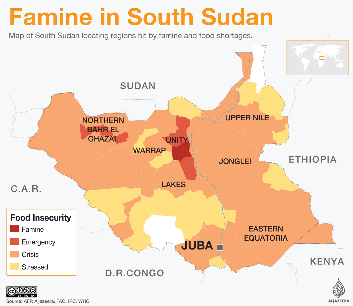 south sudan map famine united nations infographic