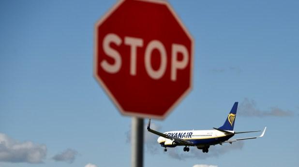 A Ryanair aeroplane prepares to land at Dublin airport in Dublin