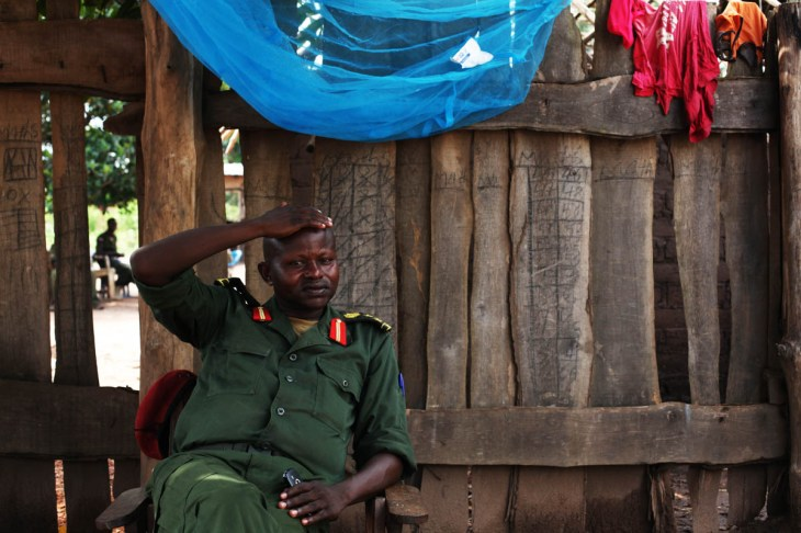 Former rebel commander Abel Matthew Mbarza, now part of the government forces, at his compound in Yambio. According to the UN, there are still 19,000 children in armed forces in South Sudan, a number contested by the army. [Andreea Campeanu/Al Jazeera]