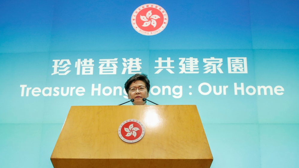 Hong Kong Chief Executive Carrie Lam attends a news conference after her policy address for 2019, in Hong Kong, China, October 16, 2019.