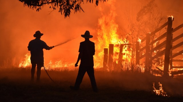Residents defend a property from a bushfire at Hillsville near Taree, 350km north of Sydney on November 12, 2019. - A state of emergency was declared on November 11 and residents in the Sydney area we