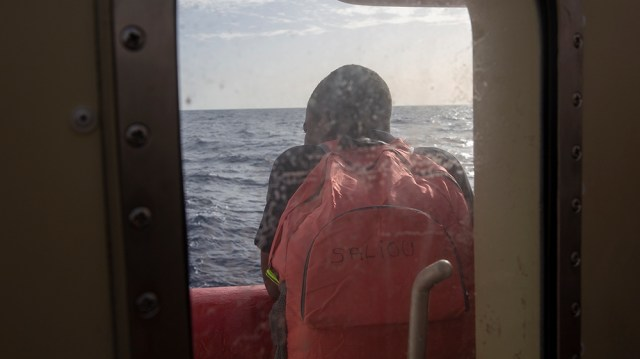 Ninety-four refugees and migrants, including four pregnant women, have been rescued by charity ship Ocean Viking 42 nautical miles off the coast off Libya. November 19, 2019 [Faras Ghani/Al Jazeera]