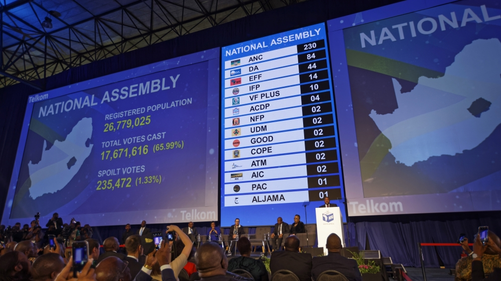 The final results, in number of seats in parliament for the parties who won seats, are displayed at the results ceremony at the Independent Electoral Commission Results Center in Pretoria [Ben Curtis/ AP]