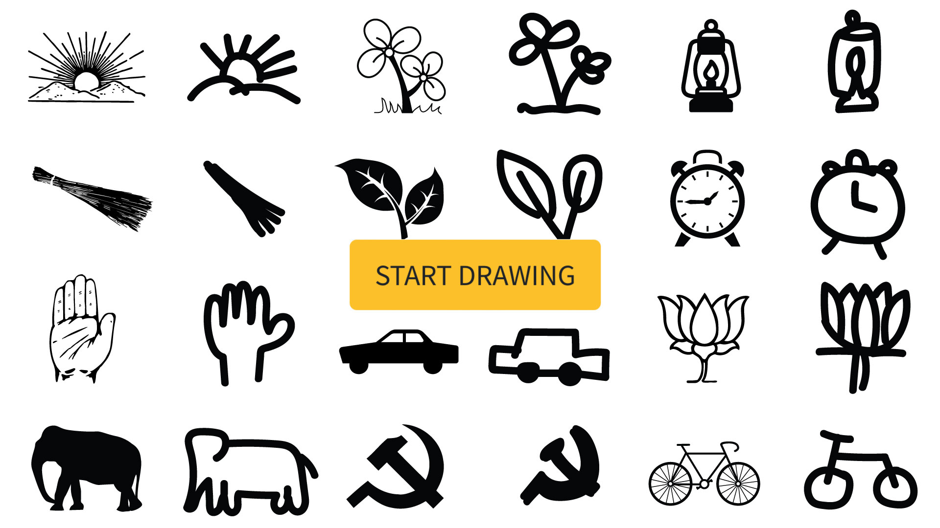 Learn what India's parties' symbols mean by drawing them